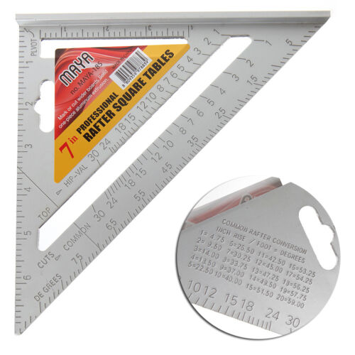 """New 7/"""" Square Carpenter/'s Measuring Ruler Layout Tool Triangle Angle Protractor"""