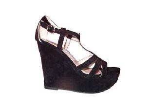 7ed36acc759ac6 Ladies Shoes Inniu Calypso Black Rub Strappy Wedge Heels Size 5-10 ...