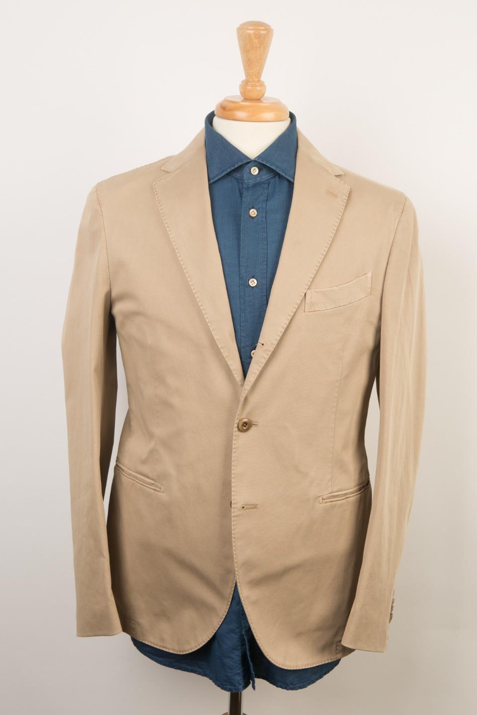 74c2d287f Boglioli Milano 'Coat' Khaki Cotton Blend 3 Roll 2 Button Sport Coat 50 IT