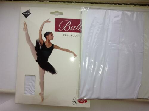 ** GIRLS FULL FOOT BALLET TIGHTS BY SILKY PINK BLACK WHITE /& TAN VARIOUS SIZES *