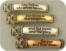 2 Hole Beads The Lord's Prayer Bars 3T w/Clear Swarovski Crystal Elements QTY 4
