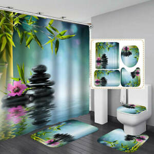 Spa Bamboo Stone Shower Curtain Bath Mat Toilet Cover Rug Zen