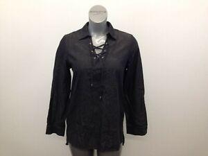 Lisette Tie V Neck Tunic Top Women's Large Black Long Sleeve Pullover Shirt