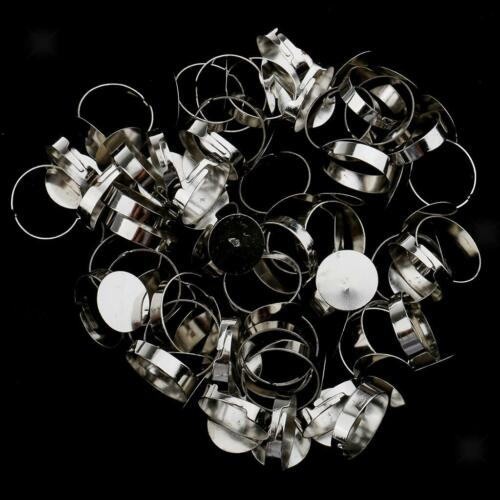 50pcs Blank Adjustable Ring Base for DIY Cabochon Ring Jewelry Craft 1.5cm