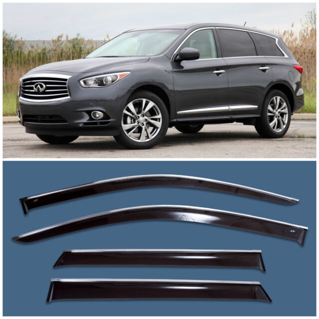 Chrome Trim Window Visors Guard Vent Deflectors For Infiniti Jx35