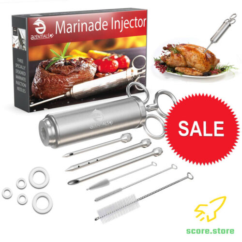 Marinade Syringe /& 3 Flavor Needles for BBQ Meat Injector Stainless Tools Kit