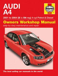 haynes manual 4609 audi a4 1 8 se turbo 2 0 fsi 1 9 tdi 2001 2004 rh ebay co uk Audi A6 Audi R8