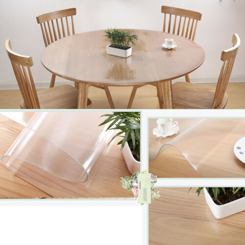 1.5mm Waterproof PVC Clear Tablecloth Round Transparent Table Protector Cover