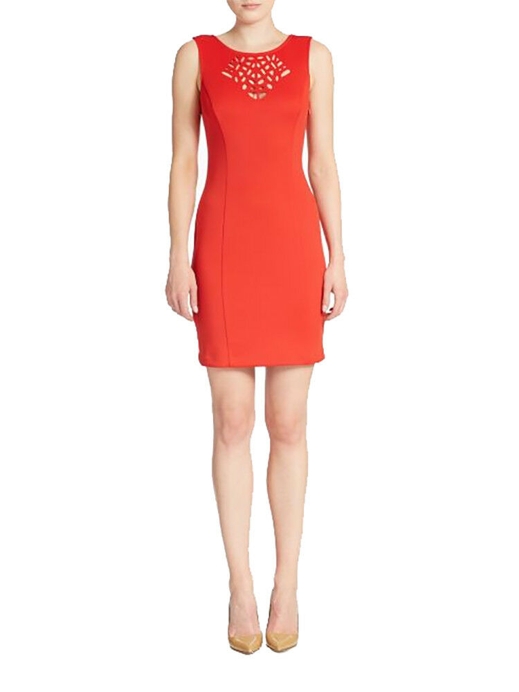 2829-00 Guess Cutout Detail Sheath Dress Coral Red, 14