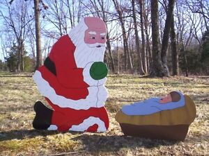 Santa praising jesus 38 christmas yard art ebay for Baby jesus lawn decoration