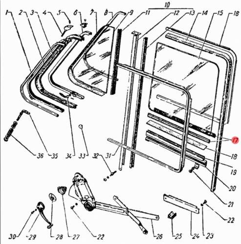 21-6103290 21-6203290 Filz Abstreifdichtung Kurbelfenster GAZ 21 Wolga.