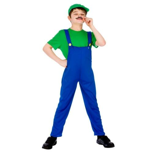 Funny Plumber Green Fancy Dress Luigi  Kids Costume