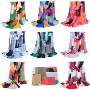 Lady-Geometric-Chiffon-Silk-Large-Long-Scarf-Wraps-Tassel-Block-Shawl-All-Season