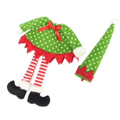 Xmas Christams Santa Claus Polka Dot Elf Wine Bottle Cover Bag Ornament Table