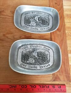 Vintage Wilton Armetale Pewter Give Us This Day Our Daily Bread Tray.