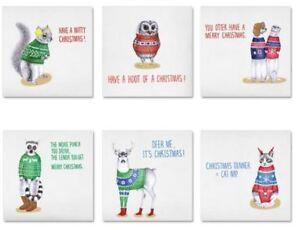 Christmas-Sweaters-Xmas-Cards-Set-of-6-Kitsch-Cute-Owl-Deer-Cat-Lemur-Squirrel