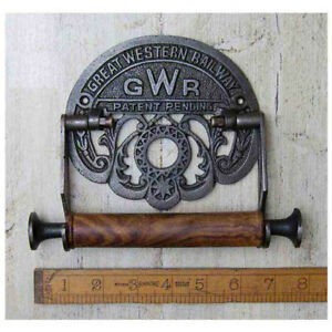 1-G-W-R-RAILWAY-CAST-ANTIQUE-IRON-TOILET-ROLL-HOLDER-WALL-MOUNTED-VINTAGE