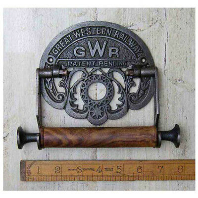 1 G W R RAILWAY CAST ANTIQUE IRON TOILET ROLL HOLDER WALL MOUNTED VINTAGE