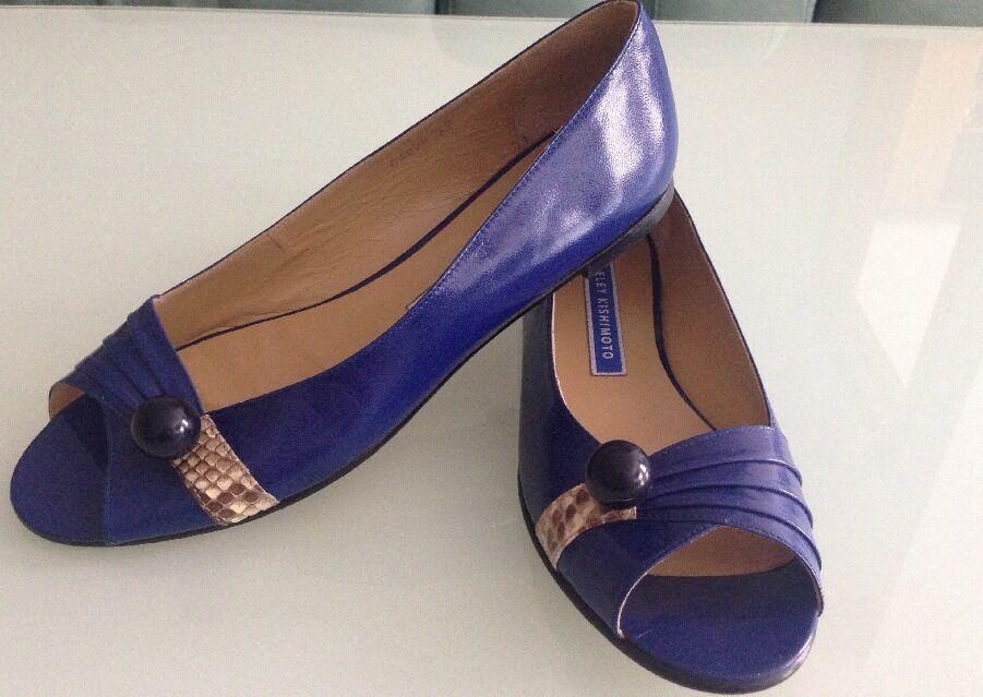 Eley Kishimoto Leder Blau Peep Toe Flats w Snake Skin US Detail, Größe EU 40 US Skin 10 cc33da