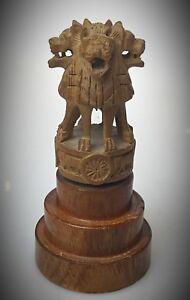 Chine-statuette-en-bois-sculpte-quadri-Chiens-Foo-piece-rare-ancienne-sur-socle