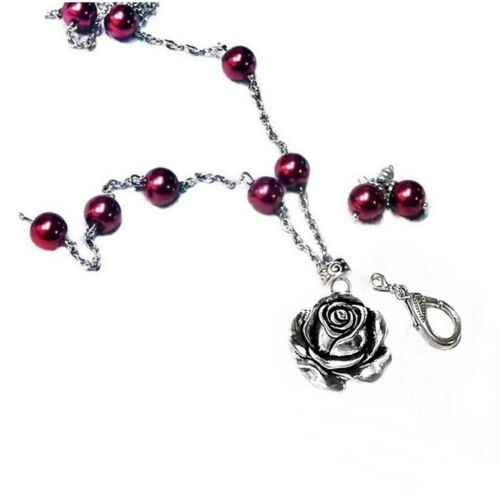 rose charm and pearls Beaded chain Necklace Lanyard keys security badge