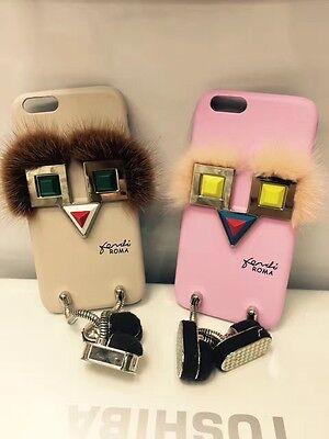 Mink fur Studs Rivet Square Eye motif Cover for Apple Iphone 7 6s plus Case Skin