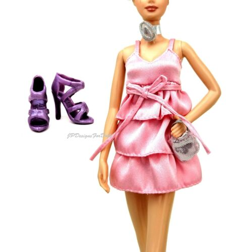 Fashion Fever Barbie Outfit Pink Dress Choker Handbag ensemble New out of Box