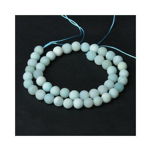 pcs givré Pierres Précieuses Fabrication de Bijoux Amazonite Perles Rondes 4 mm bleu pâle 85