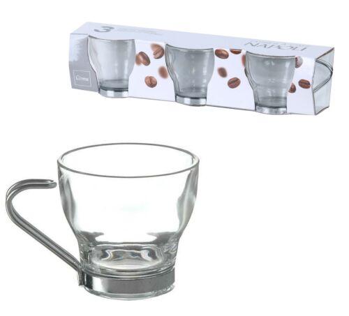 Lot de 6 x Verre Clair Napoli espresso mini tasses de café avec métal poignée 8 cl