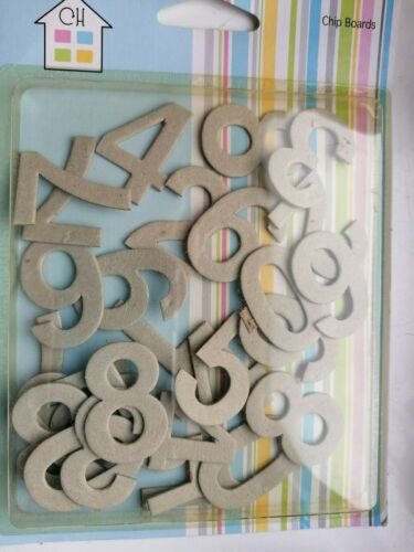 crafty house chip boards numbers for card making etc