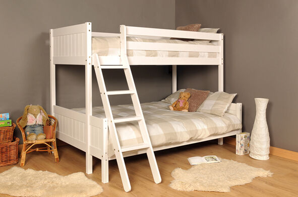 3ft 4ft Triple wooden Bunk Bed kids Pine White & Mattress Option FREE NEXT DAY