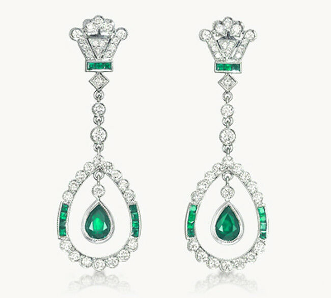 1.10ct ROUND DIAMOND 14K WHITE gold EMERALD WEDDING ANNIVERSARY EARRING G