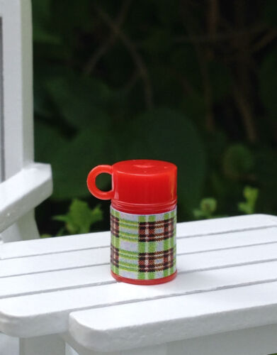 Miniature Dollhouse FAIRY GARDEN Accessories ~ TINY Red & Green Plaid Thermos