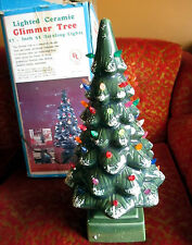 """IN BOX Vintage 70s 80s  Ceramic Flocked Light Up Christmas Tree 17"""" Table Lamp"""