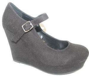 9186dad72bb NEW Womens SODA ROMIE Black Platform Wedge Heel Espadrilles Dress ...