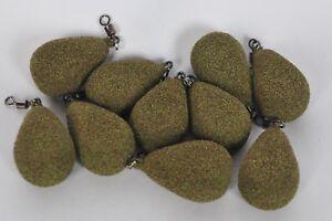5.5oz  Carp Fishing Lead Weights 5x DUMPY FLAT PEAR Textured Camo Green 1oz