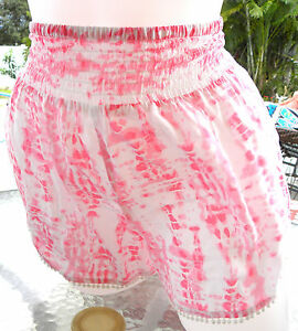 Victorias-Secret-cover-up-beach-shorts-swim-pink-white-tye-dye-cruise-M
