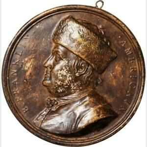 1777-Ben-Franklin-American-Plaque-93-mm-EF-Bronze-Lacquered-Ceramic-by-Nini