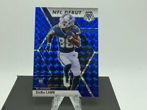 2020 Mosaic Football CeeDee Lamb #268 NFL Debut Blue Prizm RC /99