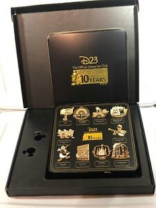 Disney-D23-Official-Fan-Club-10-Year-Anniversary-Collector-10-Pin-Set-2019-W-Box