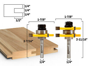 """3/4"""" 2 Bit Tongue and Groove Router Bit Set - 1/4"""" Shank - Yonico 15221q"""