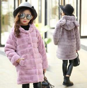 722b575525e6 Kids Girls Fur Fleece Long Hooded jacket Winter Warm Thick Trench ...
