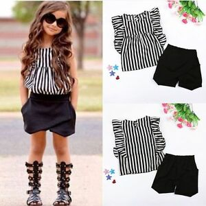 2PCS-Toddler-Kids-Baby-Girls-Summer-Outfit-Clothes-T-shirt-Tops-Shorts-Pants-Set