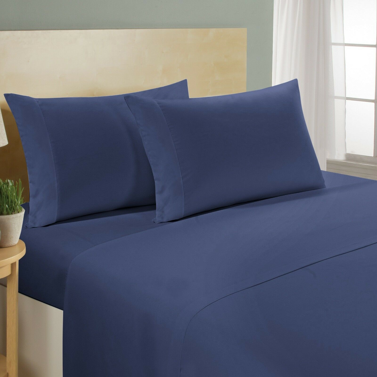 Navy bluee Solid Bedding Item 600 Thread Count 100% Cotton All Size Available.