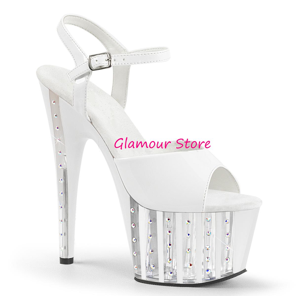Sexy SANDALI BIANCHI STRASS tacco 18 dal 35 scarpe al 42 plateau cinturino scarpe 35 CLUB a976d5