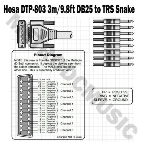 "Hosa DTP-803 3m 9.8ft Snake Cable 8-Channel DBM25 /> 1//4/"" TRS DB25 Male"