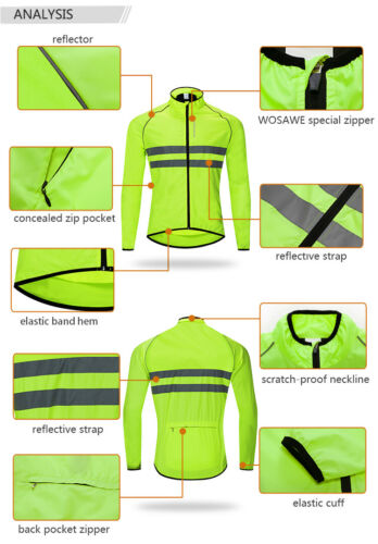 Men/'s Cycling Jackets High Visibility Reflective Windbreaker Hi Viz Bike Jerseys