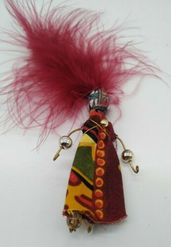 Vintage Brooch Pin Lady With Feather Hat Handcraft