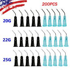 200pcs Disposable Dental Endo Irrigation Bent Flow Needle Syringe Tip 202225ga