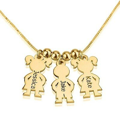 Mothers Necklace Gold Plated Children Charms Necklace Boy / Girl Mother Pendant